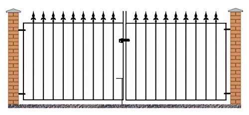 Saxon Spear Top Driveway Gates 2134mm (7ft) GAP x 1255mm High wrought iron dual swing metal gate...