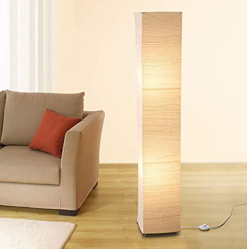 Trango 1213 Modern Design Stehlampe *OSLO* Reispapier Lampe in eckig mit beigefarbenem Schirm Stehleuchte 125cm Hoch Wohnzimmer Deko Lampe, Stehleuchte mit Lampenschirm 100% *HANDMADE*