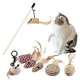 Katzenspielzeug Zauberstab, Federspielzeug, Katze Spielzeug, Teaser Zauberstab Spielzeugset, Katzenfederspielzeug, Katzen Teaser Interaktives Spielzeug, Verschiedene Spielzeug für Katze Kitty