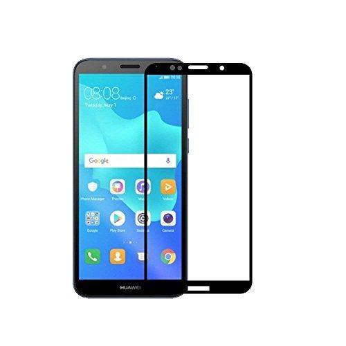 Compatible con Huawei Y5 (2018) / Y5 2018 Prime DRA-L01 / DRA-L21 / DRA-L03 / DRA-L23 Película transparente cristal cristal cristal templado antigolpes 3D antiarañazos (marco negro)