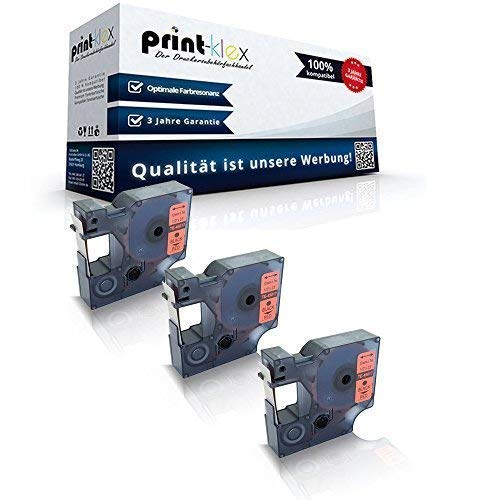 3 x compatibel voor Dymo D1 45017 mobiele abels Labelpoint 100 150 200 250 300 350 Labelwriter 400Duo S0720540 12 mm 7 M Black - Red Band - Easy Light Serie