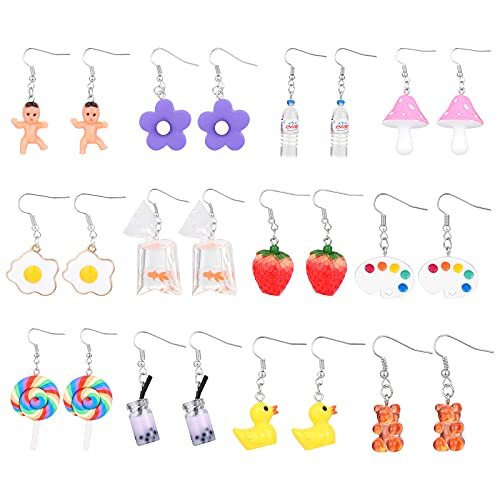 Juego de 12 pares de pendientes divertidos para mujer, lindos y coloridos pendientes con diseño de oso gomoso y pato, botella de agua, dinosaurio, hongo, mariposa, fresa