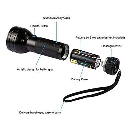 Nikauto UV Flashlight Black Light 51 LED Flashlight and UV Protective Glasses Goggles detector tool for Detecting pet Cat Dog Urine Repairing car Checking money 6