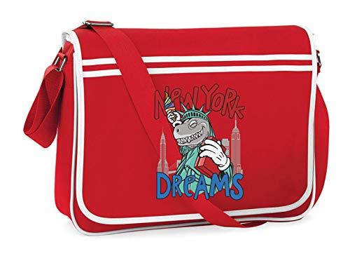 Druckerlebnis24 Schultertasche - New York Dreams Dinosaurier - Umhängetasche, geeignet für Schule Uni Laptop Arbeit