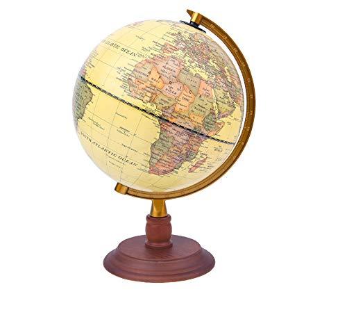 Exerz 20cm Antiker Globus mit Holzfuß - für Kinder Büro Deko Inneneinrichtung - Englischer Sprache (Durchmesser 20cm)