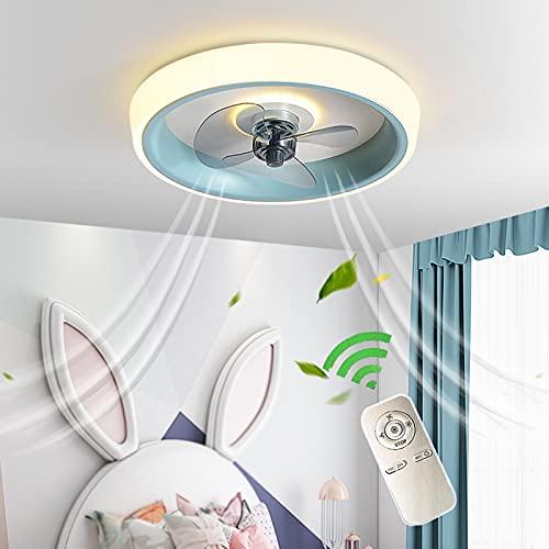 Azul Ventilador Silencioso Luz Con Control Remoto Ventiladores De Techo Con Iluminación Luces De Techo Moderno LED Regulables Ventilador Con Lámpara De Techo Para Habitación De Niños Dormitorio