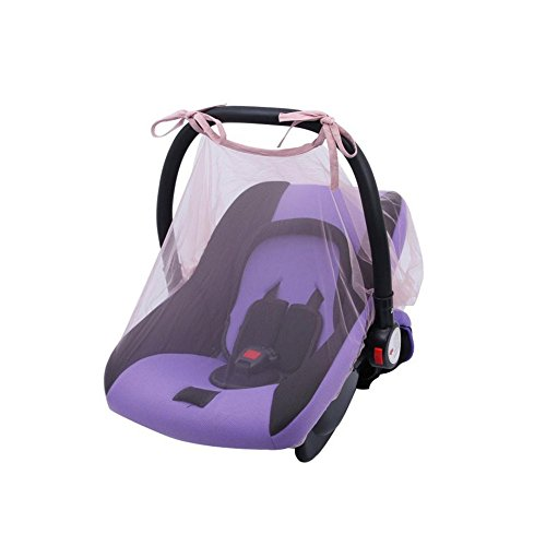 Simayixx Baby Crib Seat Mosquito Net Newborn Curtain Car Seat Insect Netting Canopy Cover (One Size, White) (One Szie, Pink)