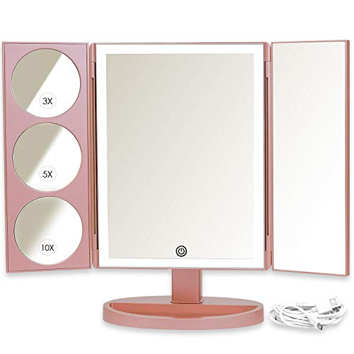 Mirrorvana XLarge Vanity Mirror with Lights | 360° Rotatable Extravagant Trifold LED Lighted Makeup Mirror with 10X, 5X, 3X Magnification & Bonus USB Cable (2018 XLarge Rose Gold Model)