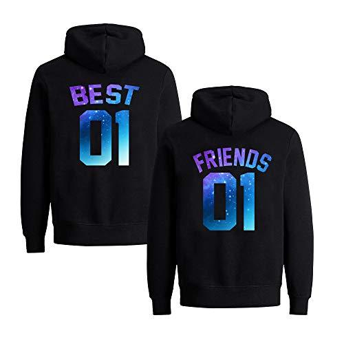 Best Friends Pullover für Zwei Mädchen 2er Set Beste Freunde Hoodie für Sister Freundin Schwester Kapuzenpullover Damen Pulli BFF Geschenke (Schwarz, Best-S + Friends-S)