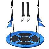 CCLLA Columpio de platillo de árbol para Patio Trasero de Parque al Aire Libre, sillas Colgantes de Hamaca Colgantes Azules de 40 Pulgadas para Gemelos, niños y Adultos, Asiento de Plataforma Gira