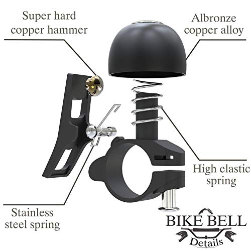 Sportout Kupferlegierung Fahrradklingel, Klassische Fahrradklingel, Lautstarker Fahrradring für Rennrad, Mountainbike, Citybike, Sportbike, Kinderfahrrad, Cruiser Bike, BMX Bike - 4