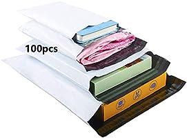 HVDHYY Enveloppe Plastique Expedition Emballage Colis Vetement Sac Mixte Expedition Lot de 100 Pièces C5 A4 B4 A3 Blanc...