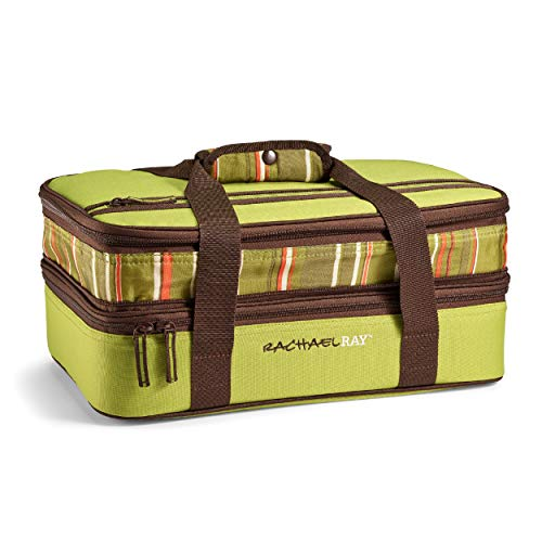 Rachael Ray Expandable Lasagna Lugger, Insulated Casserole Carrier, Fits 9'x13' Baking Dish, Green