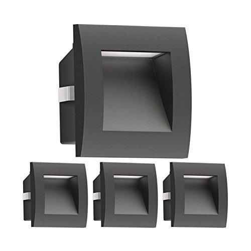 ledscom.de LED Wandleuchte Zibal, Outdoor, schwarz, warm-weiß, 90x90mm, 4 STK.