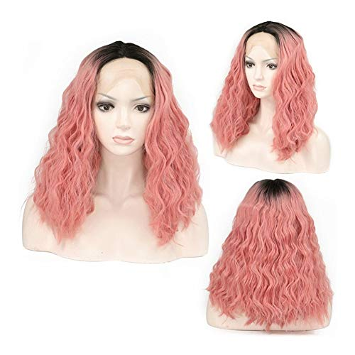 LYYCEU Lace Front Wig Color Gradient Powder Corn Hot Wig Small Volume Real Hair Wig (Color : As shown)