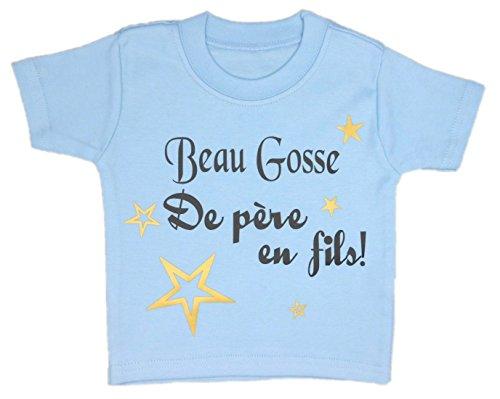 Les lutins de Camille-T-Shirt garçon bébé/Enfant, Beau Gosse de père en Fils. (6 Ans, Bleu)