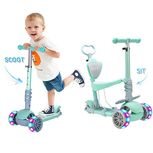 5 In 1 Kids Kick Scooter,Adjustable Scooter for Toddlers 1-6 Years Old Boy and Girls Support 50 kg (green)