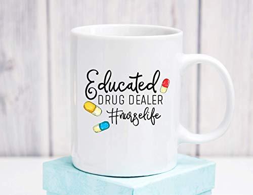 N\A Educado enfermería Traficante de cerámica Taza de café Regalo de la graduación de la Enfermera CU