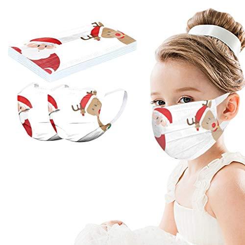 Cardi Mundschutz Kinder Unisex Xmas Gedruckt Weiß Sanft Mund_Und_Nasenschutz Set