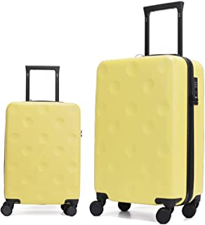 GinzaTravel 2pcs anti-scratch Hardside Spinner luggage ,Carry-On and 26inch luggage with Wheels(2-pc Set (20/26inch ), Yel...