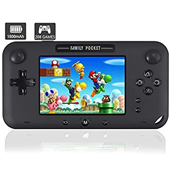 JAOK Handheld Game Console Portable Game Player Built-in 208 HD Classic Games 4  LCD Retro Gaming System Support TV/AV 16 Bit Rechargeable Handheld Game Console/Support TF Card  Black