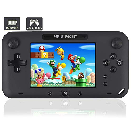 """JAOK Handheld Game Console, Portable Game Player Built-in 208 HD Classic Games 4"""" LCD Retro Gaming System, Support TV/AV 16 Bit Rechargeable Handheld Game Console/Support TF Card (Black)"""