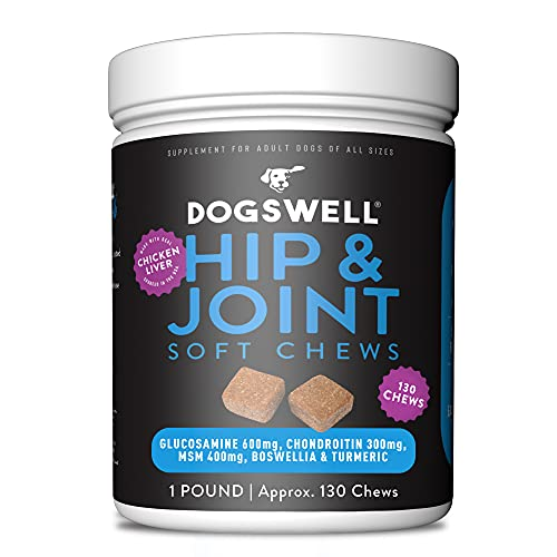 DOGSWELL Hip and Joint Supplement for Dogs - Soft Chews with Glucosamine, Chondroitin, MSM, Boswellia & Turmeric, 1 Pound