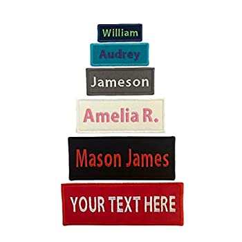 Custom Embroidered Iron On Name Tag Patch -Personalized with Your Name/Text - Many Sizes and Colors Available - Iron On Or Sew On  1 Patch