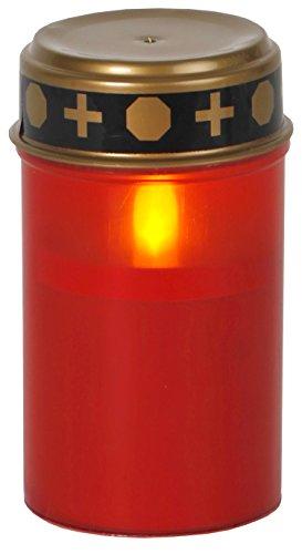 Grablicht Kunststoff mit LED flackernd rot und goldenem Deckel 12x7cm