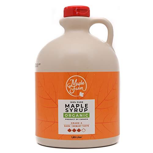 MapleFarm - Pur Sirop d'érable BIO Catégorie A, Foncé - goût robuste - 1,89 litres (2,5 Kg) - Organic maple syrup - Grade A - Dark, robust taste - Sirop d'érable biologique - Pancake sirop