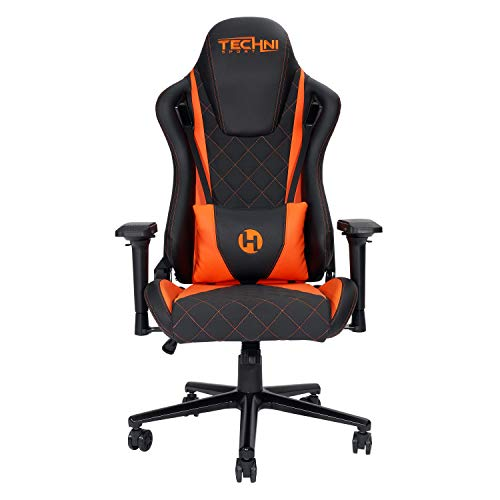 Techni Sport Ergonomic Video Gaming Chair High Back Racer Style E Sports PC Chair for Computer Desk Office Swivel Recliner with Comfortable Lumbar Support Pillow, Orange