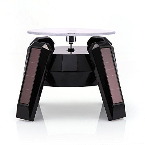 Keramik Bewegung, 360° drehbar Solar Energie Exquisite Handy Schmuck Display Ständer Rotierende Plattenteller Jewelry Tabletts, schwarz, 110*110*82MM