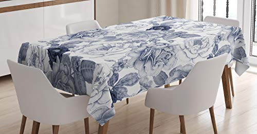 """Ambesonne Shabby Flora Tablecloth, Garden Spring Roses Buds with Leaves Flowers Romantic Image Artwork, Dining Room Kitchen Rectangular Table Cover, 60"""" X 84"""", Cadet Blue"""