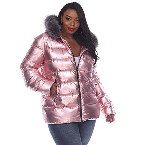 White Mark Metallic Puffer Coat With Hoodie Women's Winter Coat Zipper closure - Multicolor (Pink, 3X)