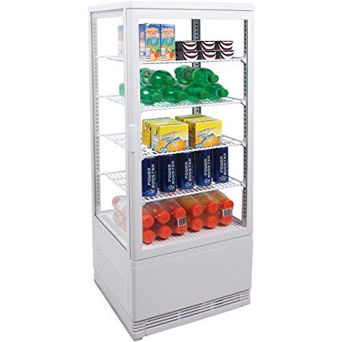 ZORRO - Kühlvitrine weiß Kuchenvitrine Gastro - 100 Liter - R600A - 4-Seitig Doppelverglast