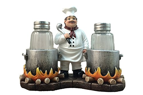DWK - Spice Du Jour - French Country Chef with Flaming Pots Decorative Figurine Salt And Pepper Shaker Set Gourmet Cottage Kitchen Collectible Home and Dining Dcor Accent, 6.5-inch
