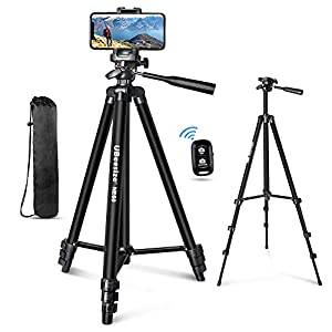 """UBeesize 60"""" Phone Tripod with Carry Bag & Cell Phone Mount Holder for Live Streaming, Extendable Travel Lightweight Tripod Stand with Smartphone Bluetooth Remote, Compatible with iOS/Android"""
