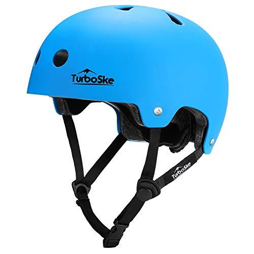 TurboSke Skateboard Helmet, Cycling Helmet, Scooter Helmet for Kids, Youth, Men, Women, Adult (L/LX, Matte Blue)