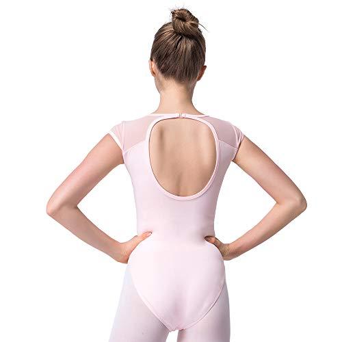 Bezioner Ballett Trikot Turnanzug Rückenfrei Gymnastikanzug Mesh Tanzbody Tanztrikot für Mädchen und Damen Rosa XXL