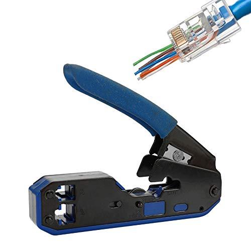 NOBGP Modular Wire Crimper, Netzwerk-Ethernet-Crimper-Werkzeug Hochleistungs-Abisoliermesser für die Durchführung von Ethernet-RJ45-Steckverbindern