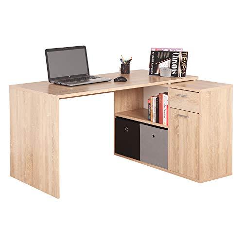 RICOO WM083-ES Schreibtisch Holz Eiche Sonoma Winkelkombination Arbeitstisch Bürotisch Computertisch Eckschreibtisch Akten Schrank Lowboard