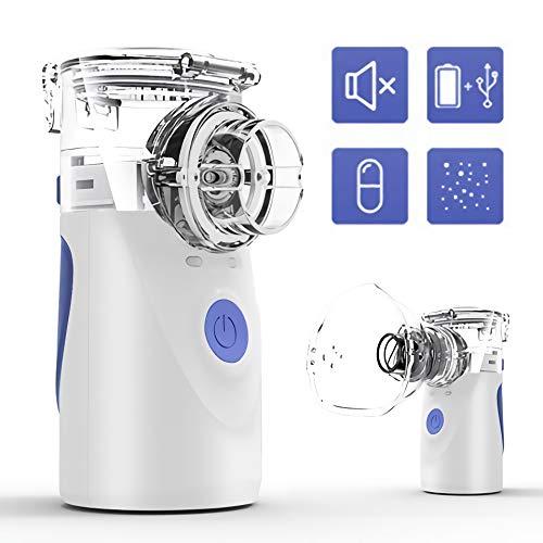 Tragbarer Inhalator Vernebler, Inhaliergeräte Vernebler Set mit Mundstück und Maske für Kinder und Erwachsene Atomisierte Partikel und Ultraschall-Technologie ist für Atemwegserkrankungen wirksam