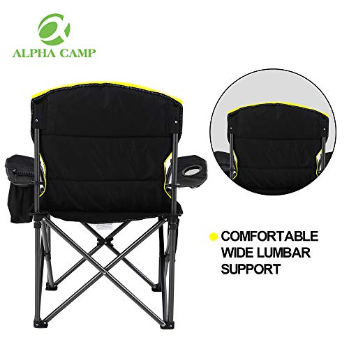 ALPHA CAMP Oversized Heavy Duty Padded Outdoor Folding Camping Chair with Cup Holder Storage and Cooler Bag, 450 LBS Weight Capacity, Thicken 600D Oxford, Black
