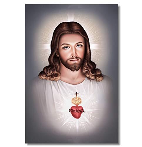 QINGRENJIE Wandkunst Bild Poster Druck Leinwand Leinwand Dekor Heiliges Herz Jesu Poster Jesus Christus Gott Wandaufkleber Büro Esszimmer Tapete 50X75Cm Ohne Rahmen