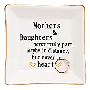 Crafted from great quality glazed ceramic,Well packed with styrofoam and gift box.(small trinkets are not included) Sentiment written in Plate: A gift to celebrate the loving relationships that develop between mother and daughter A great gifts for mo...