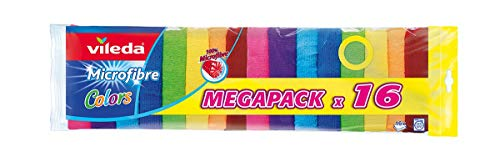 Vileda Microfaser Colors Allzwecktuch, 100{87b6f1946e2bf4a0900aa504c78a793f1983ec35c8f6044f7b453a98c7f6bfd9} Microfaser, bunt, 16