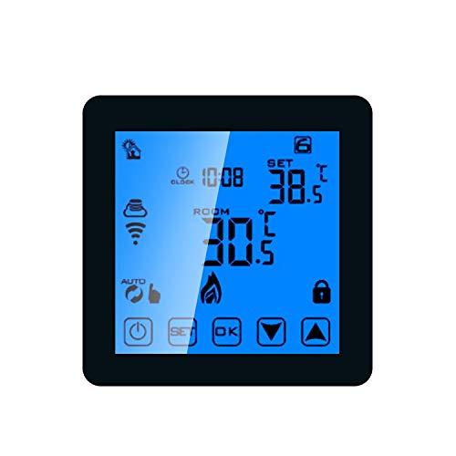 Taidallo DIY WiFi Touch Screen programmierbare Heizung Thermostat Raumtemperaturregler Digita Wasser Gas Kesseltemperaturregler Kid Lock schwarz (Farbe : Schwarz)