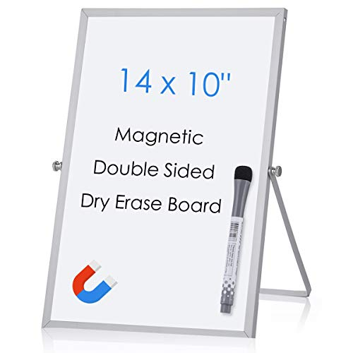 Aelfox 14 x 10 Inch Desktop Whiteboard, Magnetic Small Dry Erase Board with Stand Double-Sided Planner Whiteboard Reminder Board with Dry Erase Marker for Office, Home, School