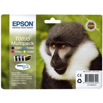 Epson T08954010 - Cartuchos de tinta para impresora Stylus Office BX300F (4 unidades), color negro, cian, magenta y amarillo