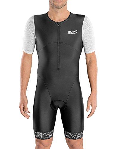 SLS3 Triathlon Einteiler Herren | Aerodynamischer Trisuit mit Ärmeln | 2 Taschen | Wettkampf | Frontreißverschluss | Schwarz (Black/White, L)